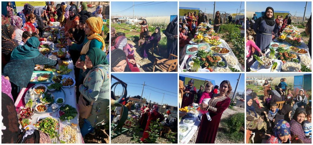 Collage of female gardeners and children enjoying food at a social gathering in the Lemon Tree Trust's Azadi Community Garden