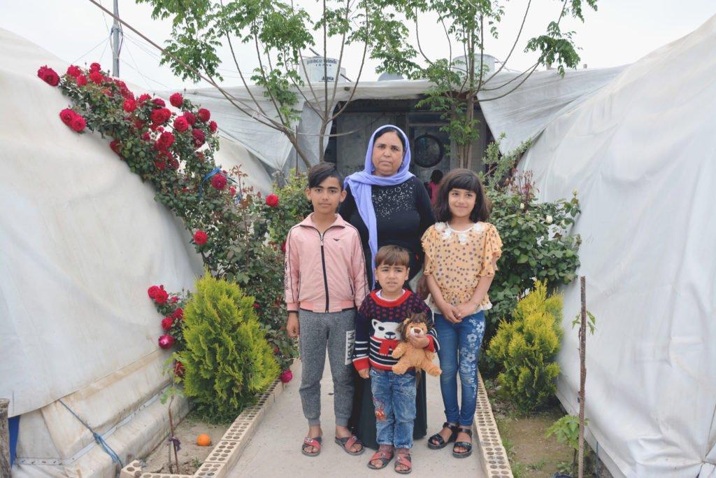 2019 Lemon Tree Trust gardening competition winner in Khanki campo, Saleh Mato and her children