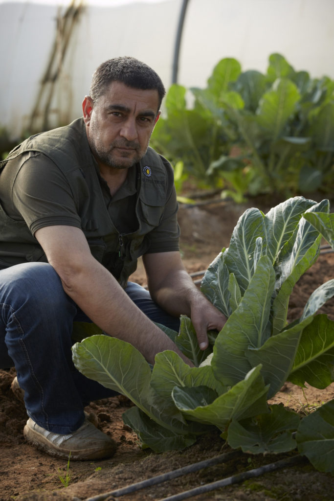 Gardener tending to vegetables in Azadi Community Garden, Domiz 1 camp, Kurdistan Region of Iraq