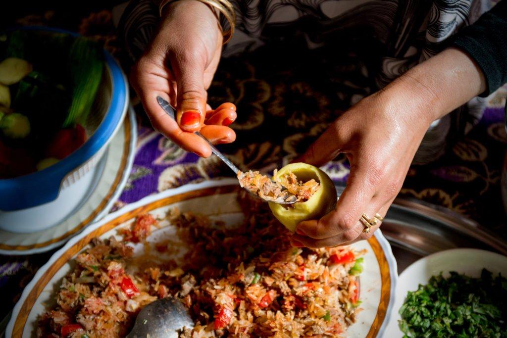 Nosheen making her Kousa Mahshi recipe