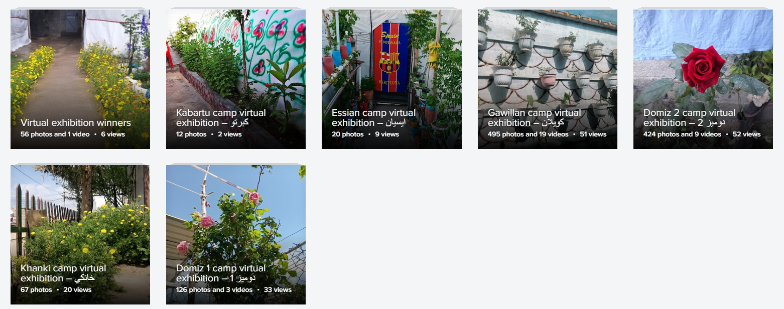 Photo album covers for each of the refugee and IDP camps entering our virtual home garden competition.