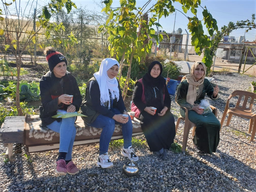 Gardeners with cups of tea, Azadi Community Garden, Domiz 1 camp, Kurdistan Region of Iraq