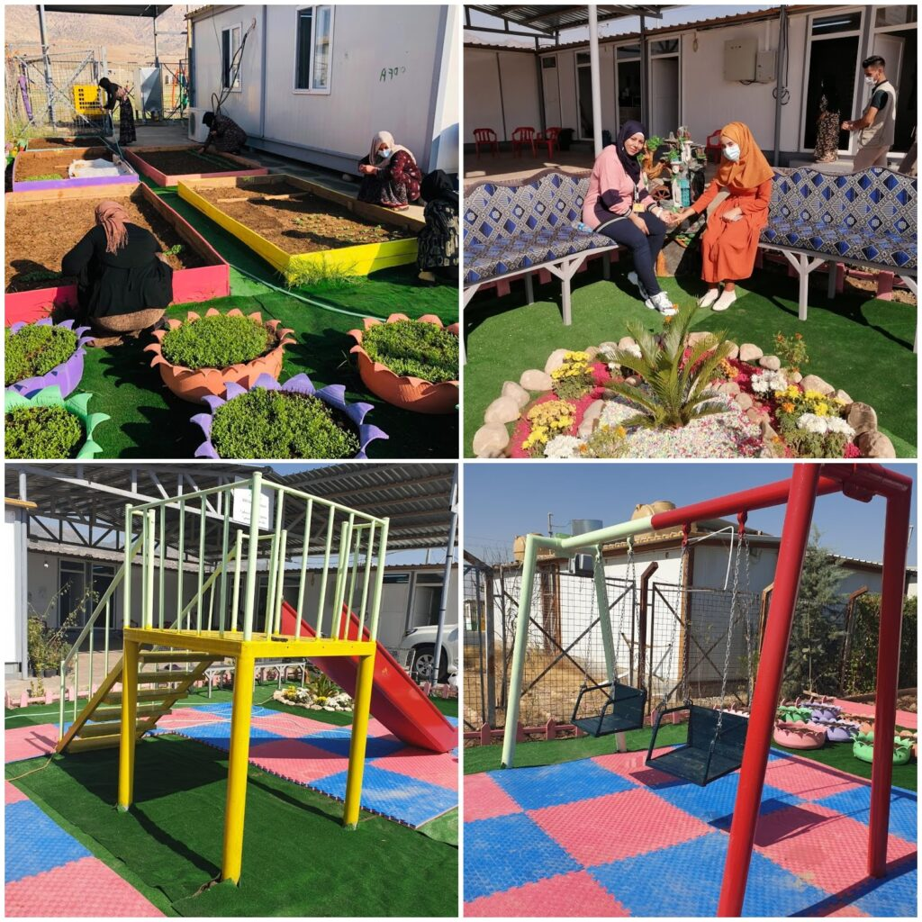 The play area and new community garden in Bersive 1 camp after work was undertaken.