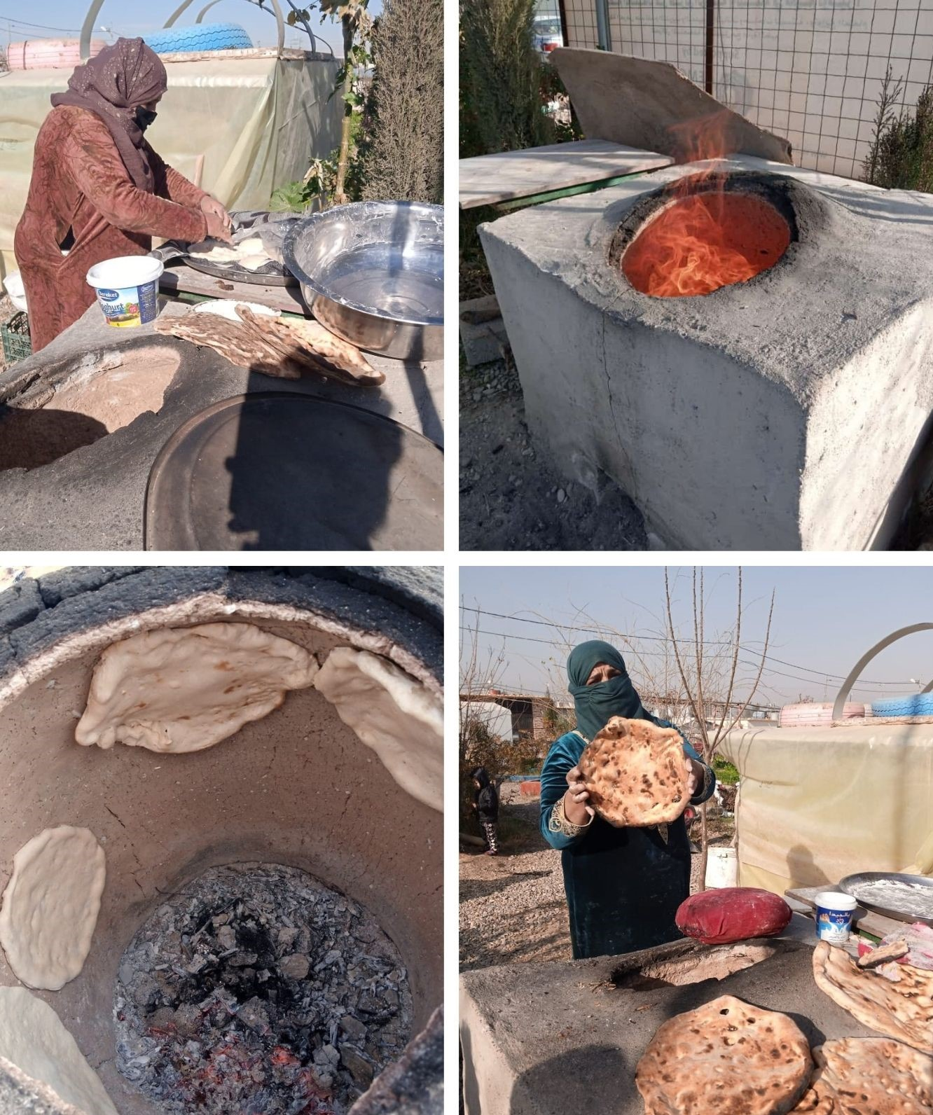 Traditional bread making inn the Azadi Community Garden, Domiz 1 camp, Kurdistan