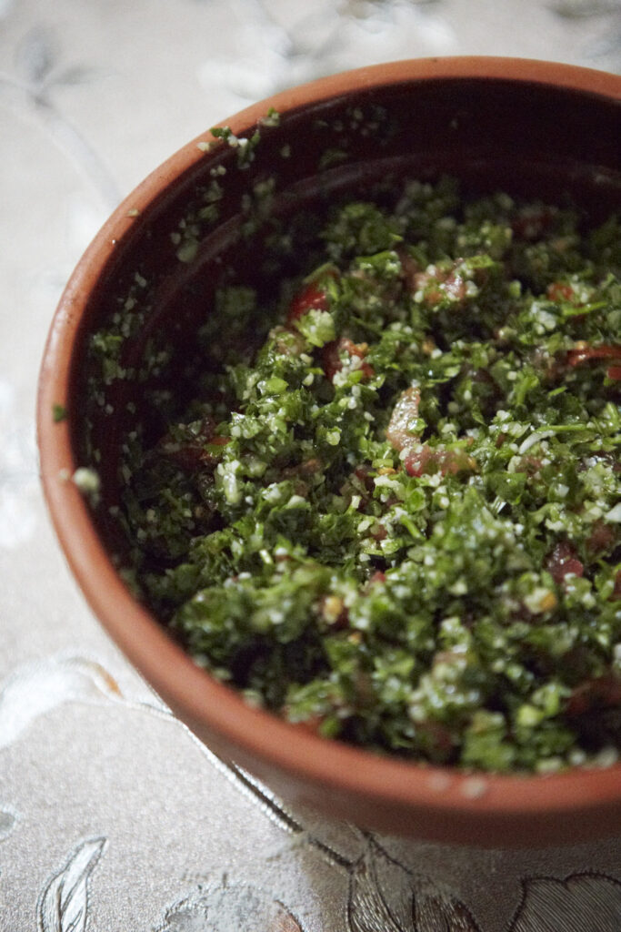 Close up of the tabbouleh