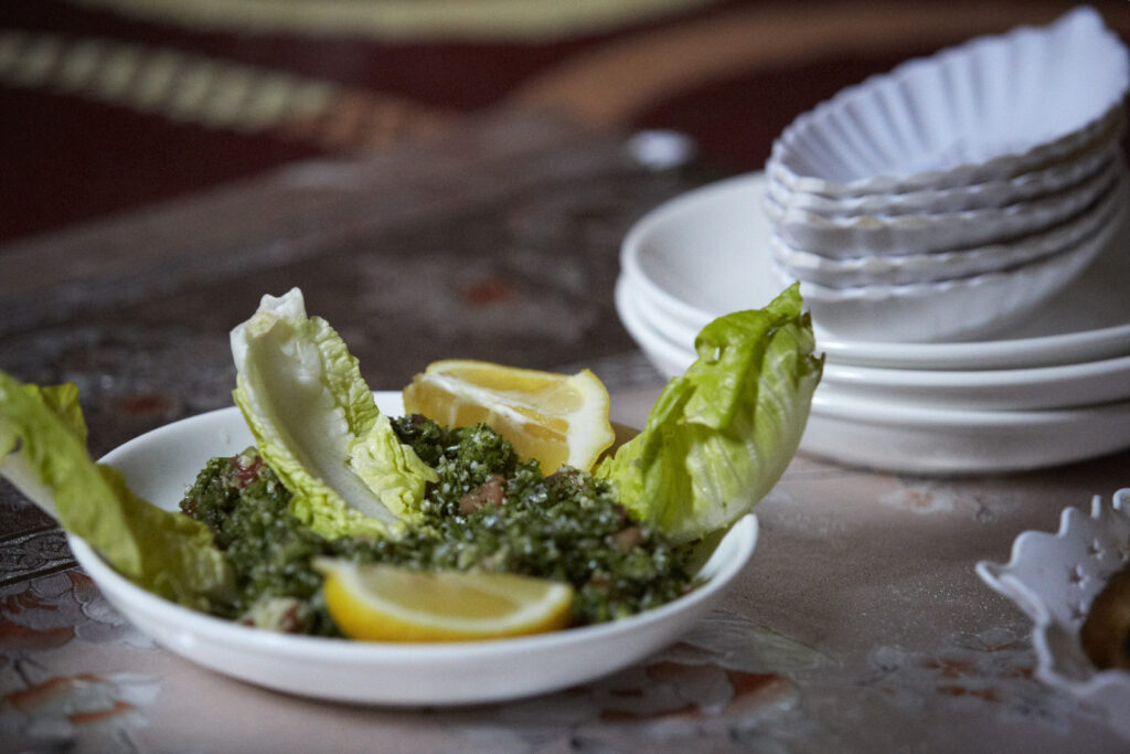Tabbouleh served with lettuce and lemon