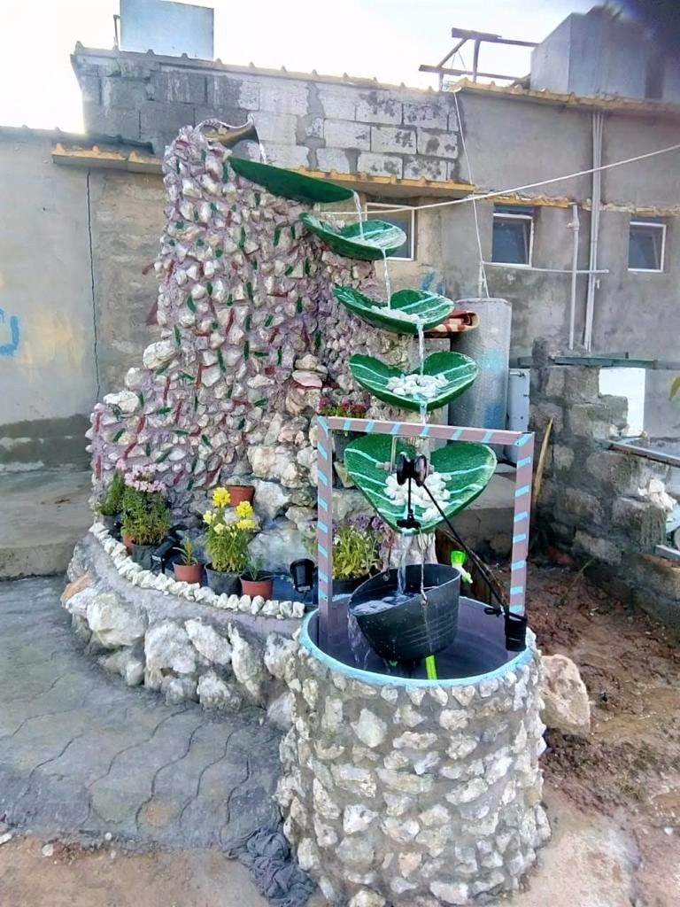 Water feature build by Salih Yosuf in his home garden, Kurdistan Region of Iraq